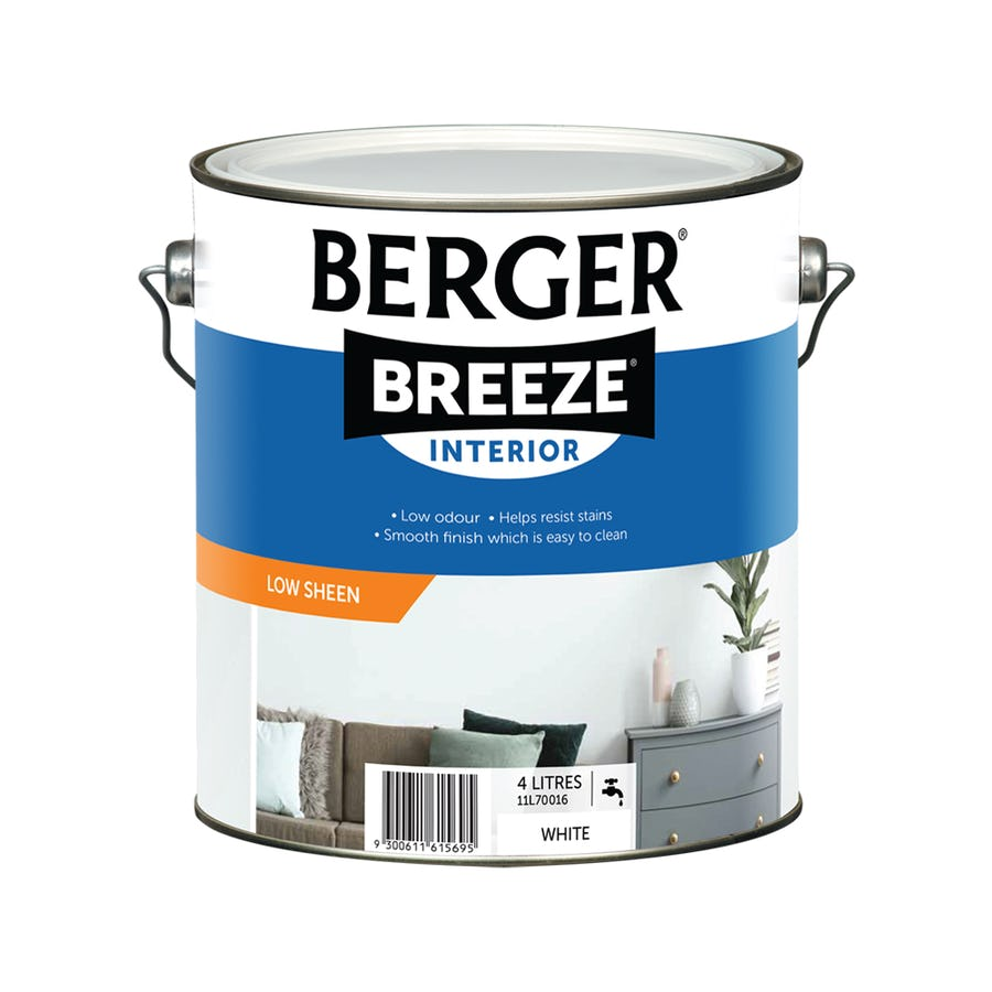 Berger Breeze Interior Low Sheen White 4L