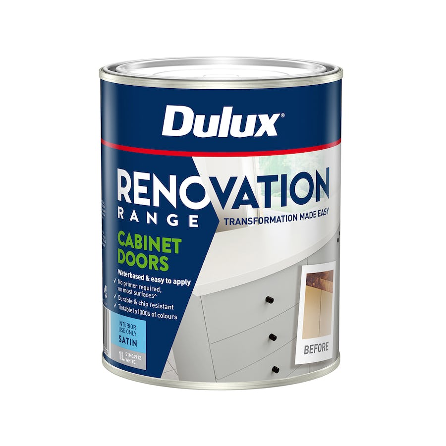 Dulux Renovation Range Cabinet Doors Satin Vivid White 1L