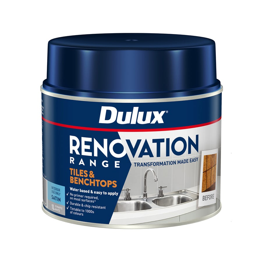 Dulux Renovation Range Tiles & Benchtops Satin Vivid White 1L